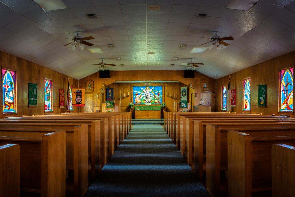 Interior of Trinity Lutheran Church - Old Dime Box, Texas